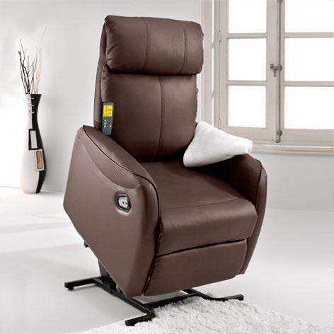 Sillon Relax Medidas: 70 cm Adec Sillon Reclinable Ancho Fondo Sillon de Descanso x 77 cm Alto Acabado en Simil Piel Chocolate x 111 cm Flow Lift